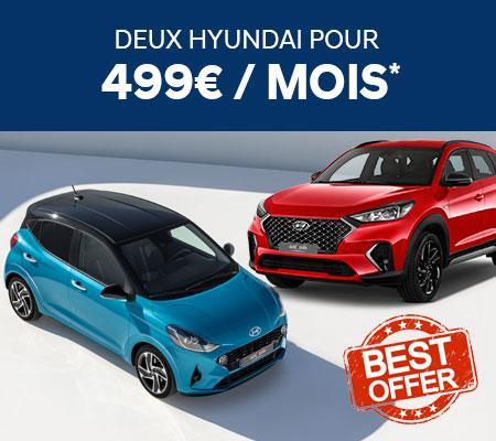 Profitez de notre offre unique et repartez avec deux Hyundai pour 499€/mois